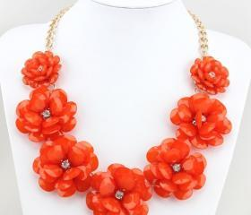 Red Flower Statement Necklace, Bib Necklace, Chunky Necklace For Women