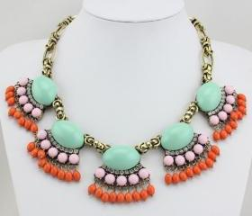 Fan Fringe Statement Necklace, Bubble Necklace, Bib Necklace